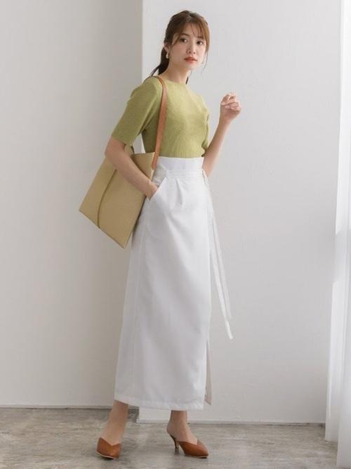 [Pierrot] リネンライクラップスカート