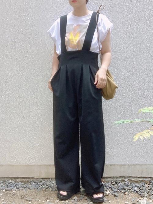 ZARAプリントTシャツ×サロペットの夏コーデ