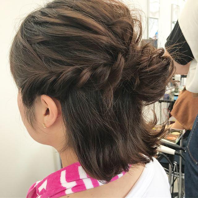 お団子×ロープ編みのきっちり可愛いまとめ髪