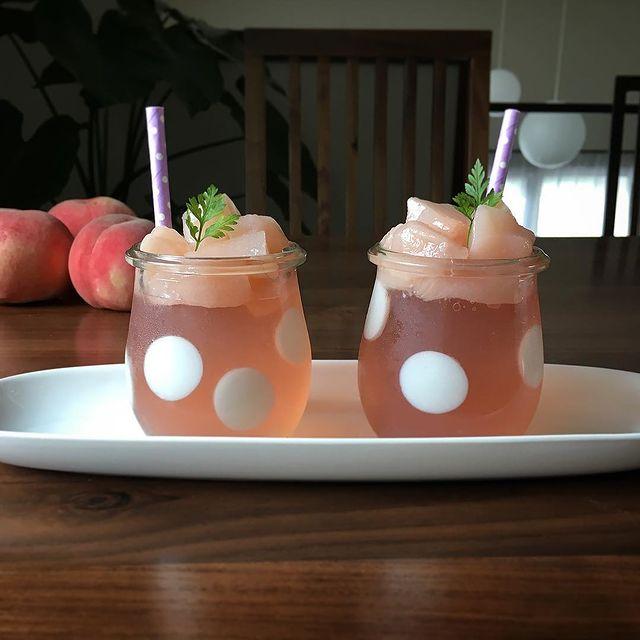 8月の人気レシピ!桃の水玉ゼリー