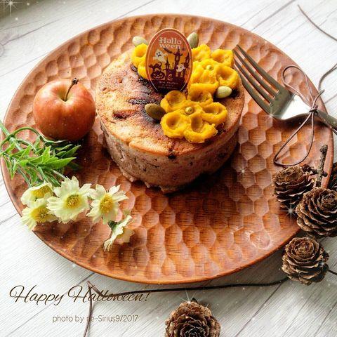 パンケーキにかぼちゃペーストをオン