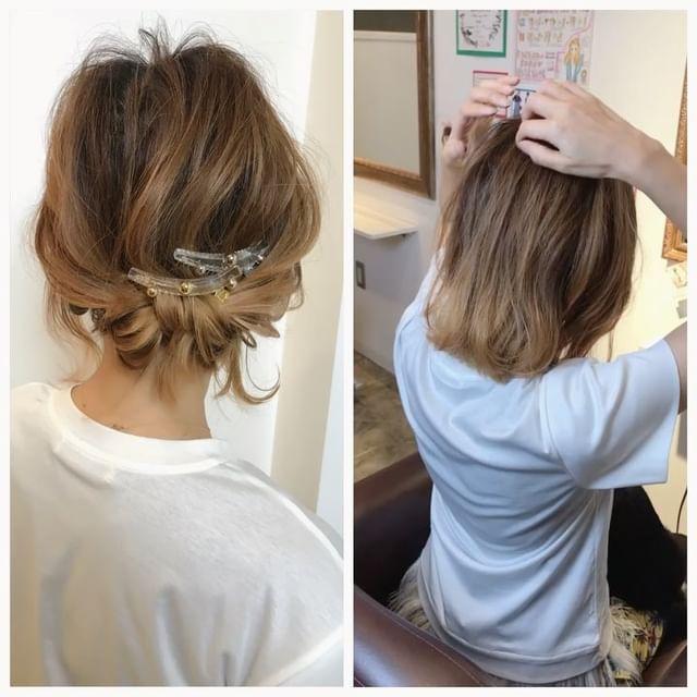 ロープ編みでつくる前髪なし×まとめ髪