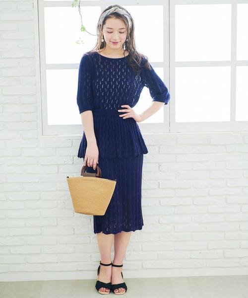 透かし編みペプラムスカート