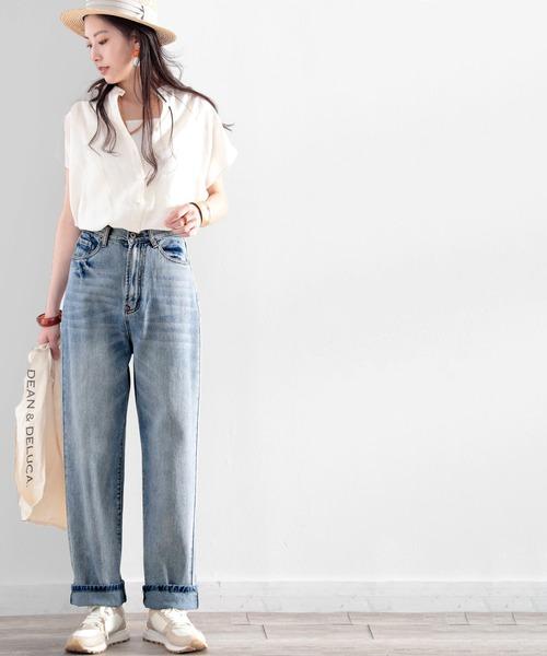 スタンドカラーシャツ×デニムワイドパンツ