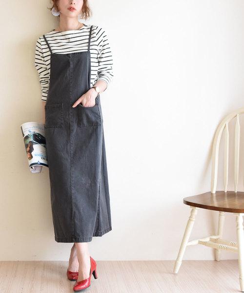 お洒落デニムのサロペットロングスカート
