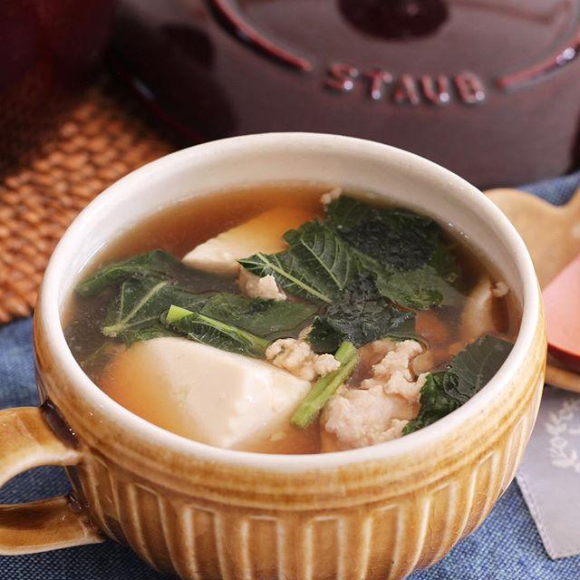 簡単料理♪豆腐とひき肉のおかずスープ