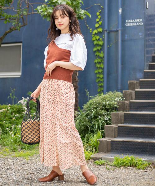 単色花柄マーメイドスカート