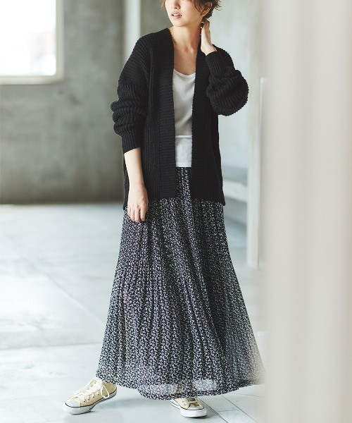 [Ranan] シフォンプリーツマキシスカート