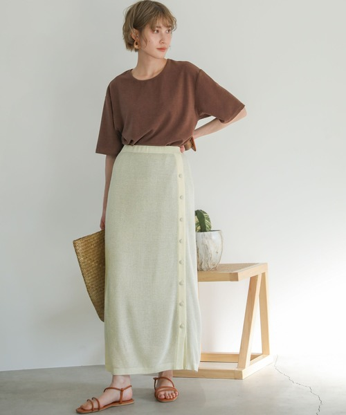 レイヤードニットスカート/ウール混伸縮性ありウエストゴムくるみボタンロングスカート
