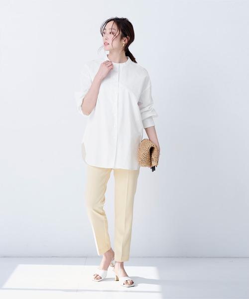 [ur's] 釦バックスリットチュニックシャツ