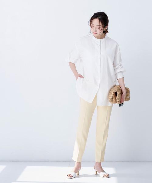 【ur's】釦バックスリットチュニックシャツ