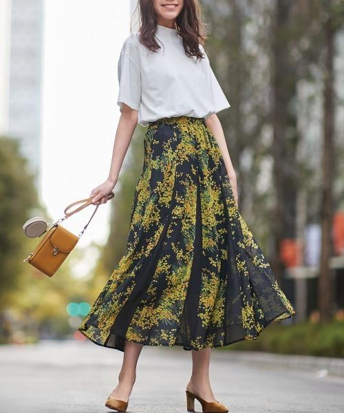 [Ranan] 裾切替ロングスカート