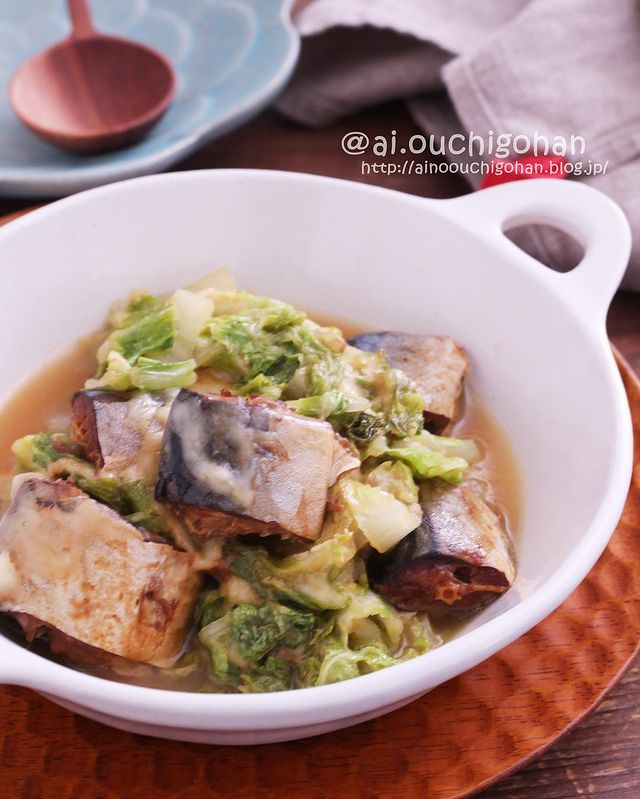 鯖、白菜、味噌煮。