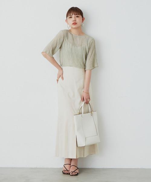 【YARD PLUS/AUNT MARIE'S】シフォン楊柳ハーフスリーブブラウス