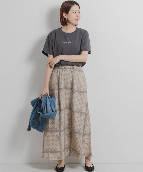 エスニックパネル柄ロングスカート