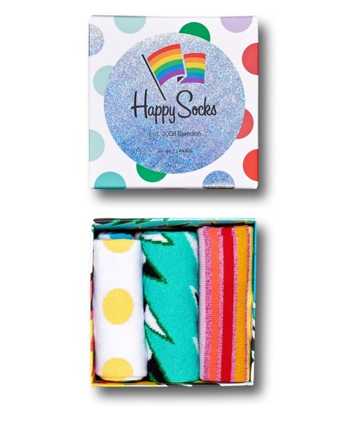 [NAIGAI] Happy Socks PRIDE GIFT BOX 3足組 ギフトセット 1A143014