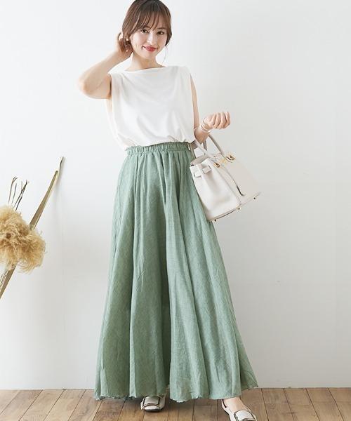[Futierland&SASA] 選べる2タイプリネンロングフレアスカート