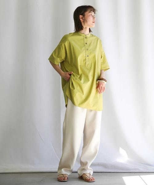 2021 SS ステッチスタンドカラースリーピングシャツ(コットン100%バンドカラーラウンドスリーブオーバーサイズシャツ)