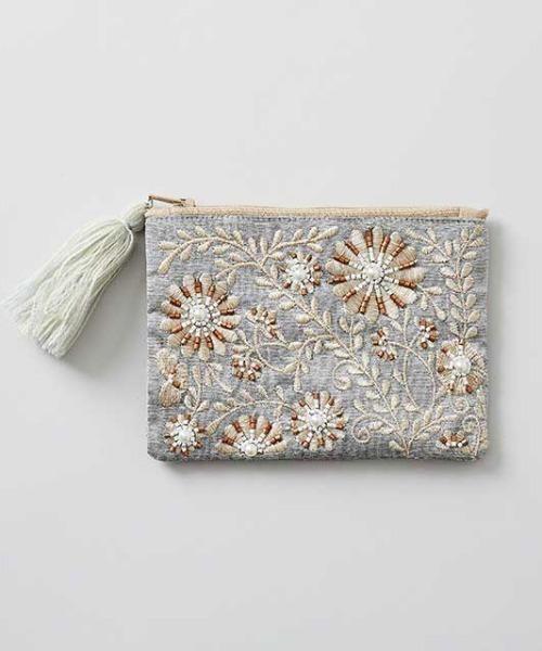 [TODAY'S SPECIAL] ビーズ刺繍ミニフラットポーチ グレー / ブルー