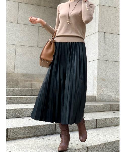 [A AMEL] エコレザープリーツスカート