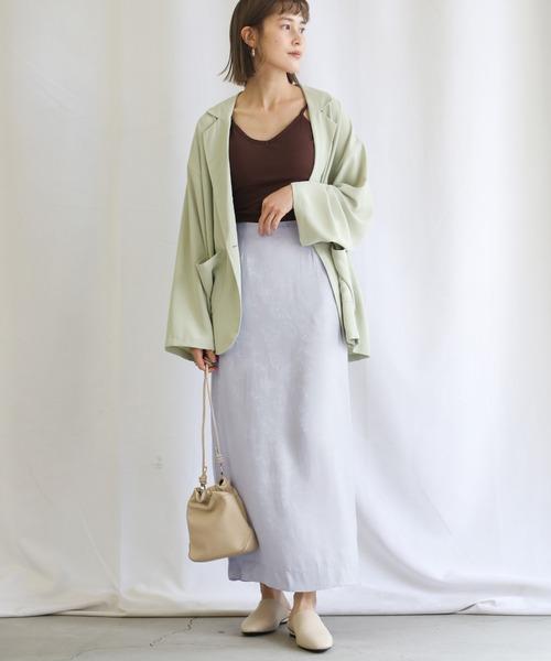 【select MOCA】サテンジャガードストレートスカート