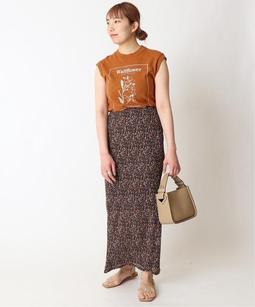 ブラウンプリントトップス×ブラウン花柄スカート