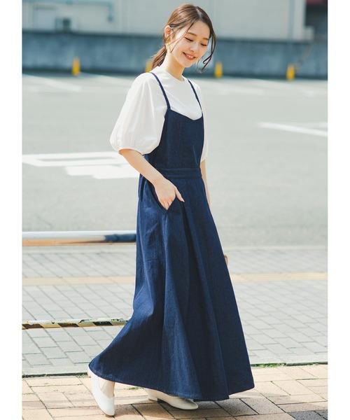 華奢見せデザインで女っぽ!Tシャツにもニットにも似合ってずっと使えるデニムサロペットスカート