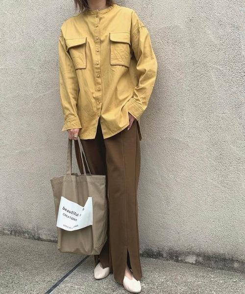 [Auntie Rosa] パイピングダブルポケットシャツ