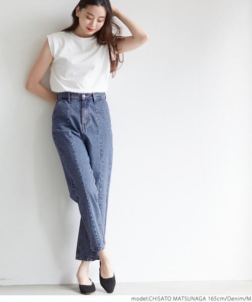 シンプルTシャツ×デニムワイドパンツ