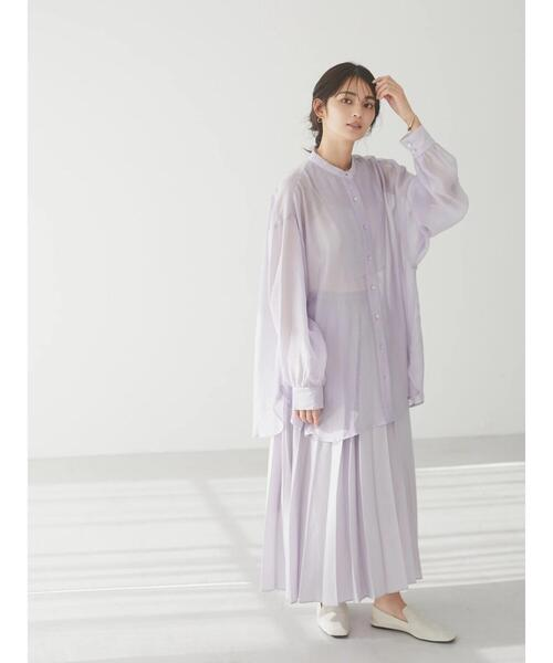 [CRAFT STANDARD BOUTIQUE] バックオープンシアーバンドカラーシャツ *◇