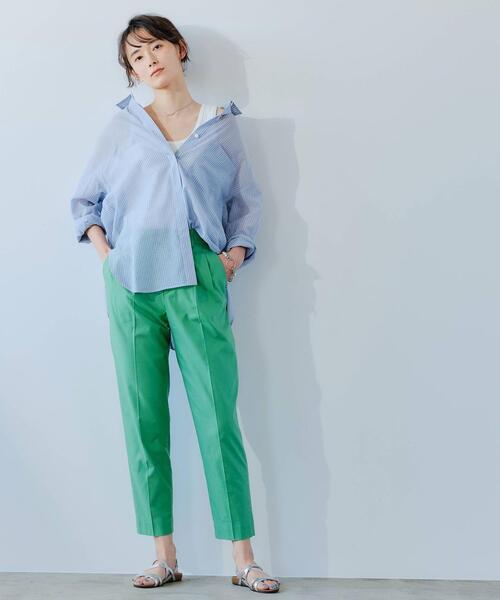 [green label relaxing] FFC シアー ストライプ オーバー シャツ