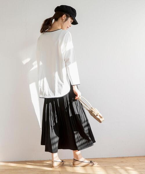 [coen] マットサテンロングプリーツスカート