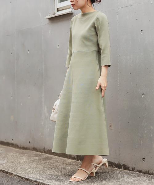natural couture] 美シルエットポリニットワンピース