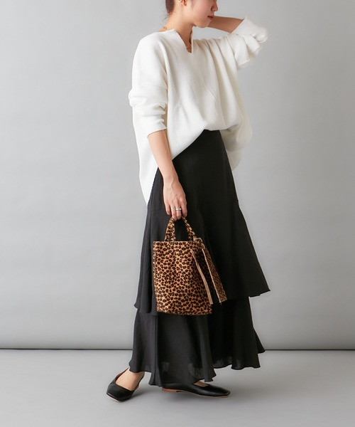 [Omekashi] 【新色:チャコールグレー】ティアードロングスカート