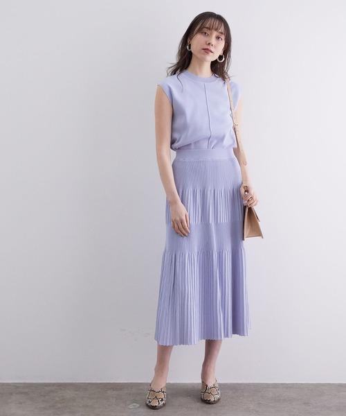 [ViS] 【UVケア】【セットアップ対応】ランダムプリーツニットスカート