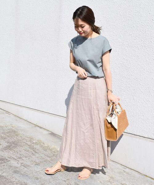 [SHIPS for women] 【WEB限定】リネンヘムフレアスカート◆