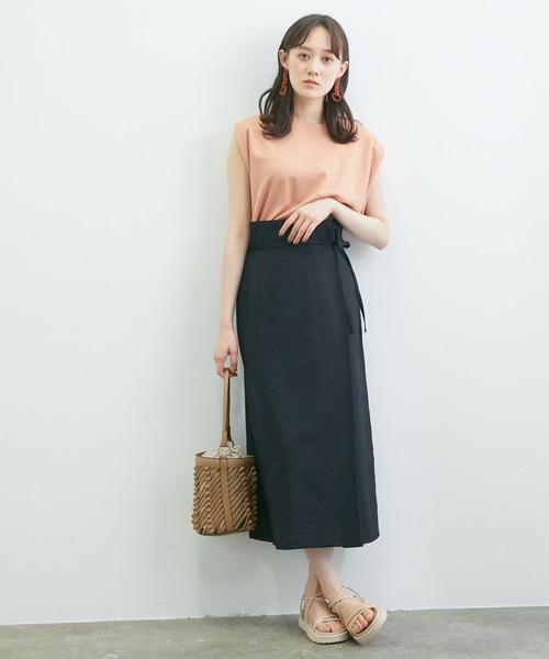 [ViS] 【WEB限定】リネンライクサイドリボンラップスカート