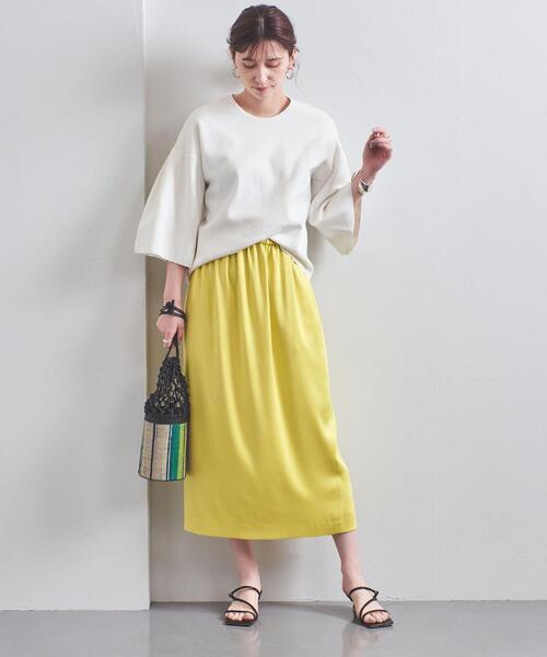 [UNITED ARROWS] UBC サテン ギャザー ロングタイトスカート