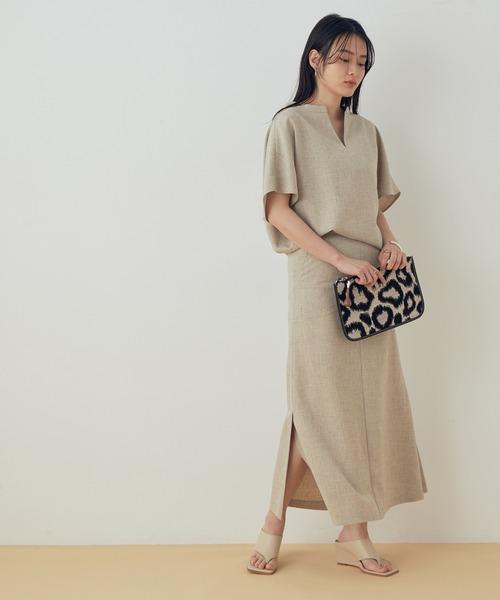 [ADAM ET ROPE'] 【セットアップ対応】スリットマーメイドスカート