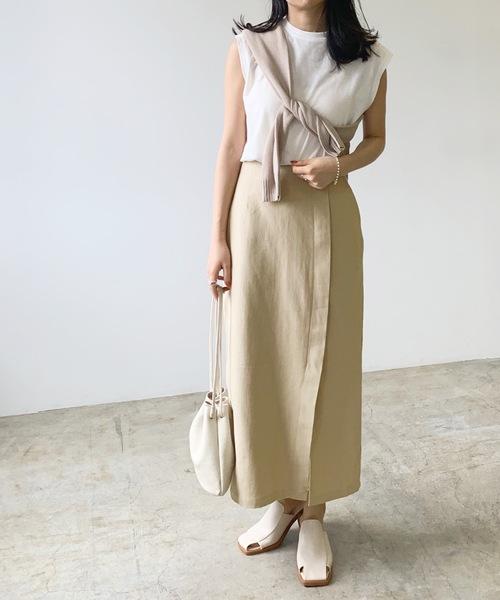 リネンライクラップロングスカート