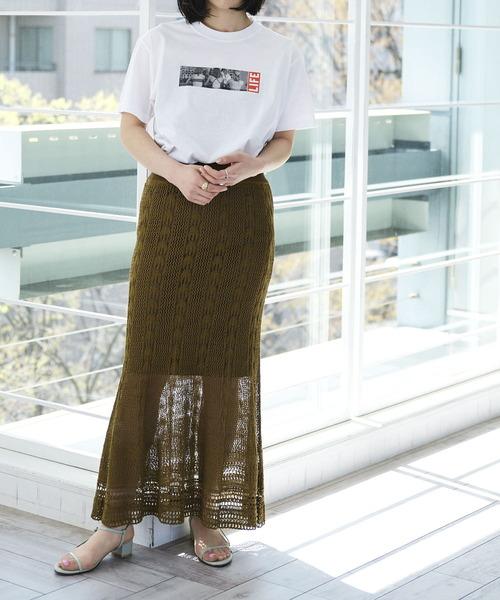 透かし柄ニットマーメイドスカート