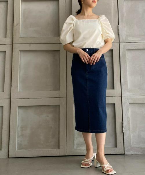 ストレッチデニム&ツイルフロントスリットタイトスカート