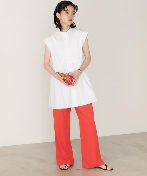 【MONO-MART】肩タックスタンドカラーチュニックシャツ