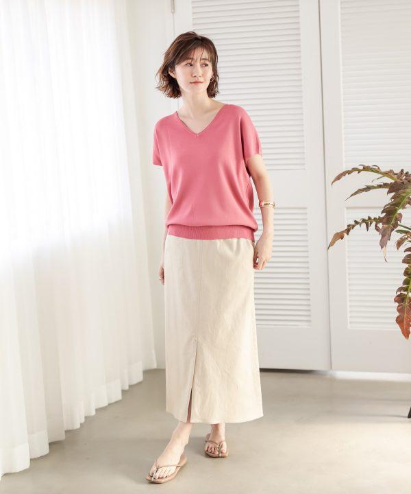 [un dix cors] 快適な履き心地 リネン混ストレッチAラインスカート