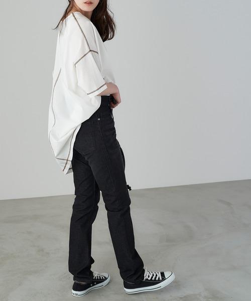 【Chaco closet】スリット入りシルケット半袖Tシャツ