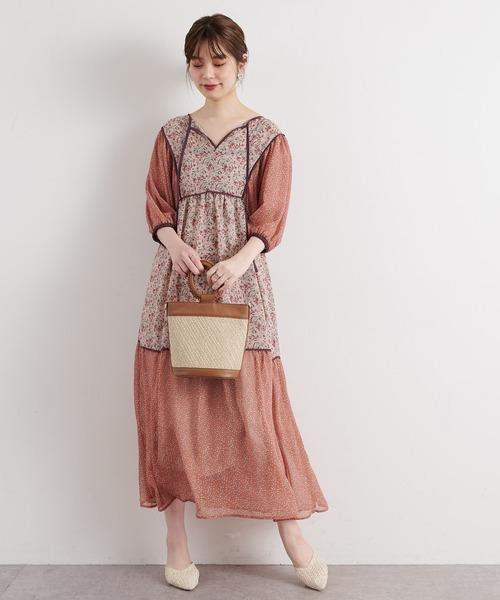 [natural couture] 【WEB限定カラー有り】パッチワークフラワーワンピース