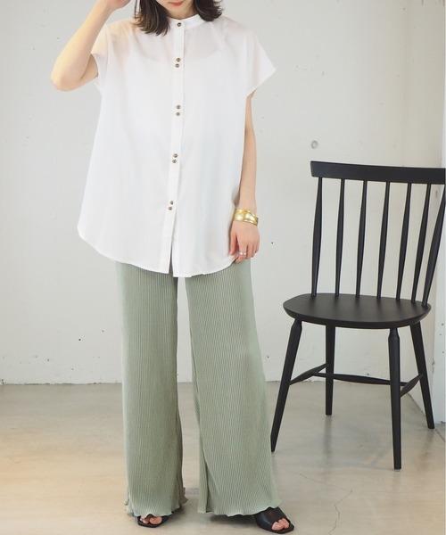 [tiptop+pocket] 2021SS バンドカラーフレンチスリーブシャツ