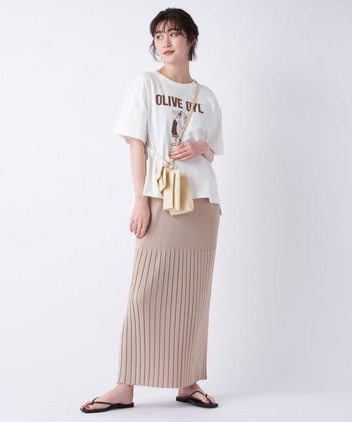 [un dix cors] Iラインシルエットがスタイルアップに リブ編みニットロングスカート