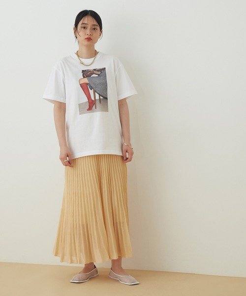 【アウトレット店舗・WEB限定】シアーニットプリーツスカート