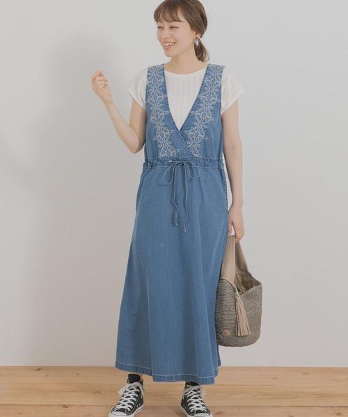 クロス刺繍デニムジャンパースカート